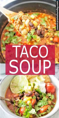 Taco Soup with black beans is easy and simple to make! This recipe uses ground beef or you can substitute ground turkey or chicken meat. Stove top method with step by step instructions and photos. #tacosoup #souprecipes #easyrecipes #whatsfordinner #dinnerecipes #mexicansoup #souprecipe #beefmincesouprecipe #groundbeefrecipe @sweetcaramelsunday