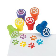 12 Paw Stampers Great party favors for a puppy or dog party. Assorted colors.