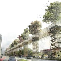 vittorio maschietto   MDU link vauxhall with elevated green bridge - designboom | architecture