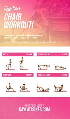 chair workout, easy home workout, exercise without the gym, kayla itsines workout