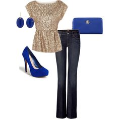 A fashion look from March 2012 featuring short sleeve tops, boot cut jeans and pink pumps. Browse and shop related looks.