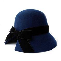 Cool Navy Blue Wool Winter Fashion Church Dress Bucket Hats for Women  SKU-158231
