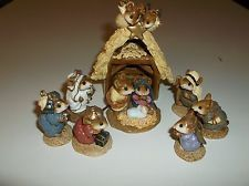 WEE FOREST FOLK NATIVITY PAGEANT 8 PCS SIGNED AP DATES 1984-1987 NOT PERFECT