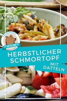 Herbstlicher Schmortopf mit Datteln - Dattelbär´s Webshop - frische Rohkost Datteln kaufen - gesund naschen Meat, Chicken, Food, Vegane Rezepte, Fresh, Easy Meals, Meal, Eten, Meals