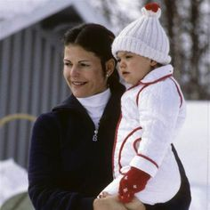 Queen Silvia of Sweden with her oldest daughter Crown Princess Victoria of Sweden, late 1970s