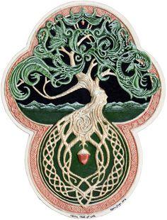 Celtic Tree of Life- Cast Paper - Tree - Green - Arbor - Big Tree - Great Oak - Acorn - Irish art - yggdrasil