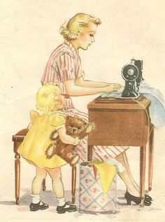 Mother at sewing machine illustration from Dick & Jane Reader br Eleanor Campbell My Sewing Room, Sewing Art, Sewing Rooms, Love Sewing, Sewing Spaces, Dress Sewing, Images Vintage, Photo Vintage, Vintage Pictures