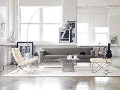 #Barcelona Chair and Stool and Platner Coffee Table and Arco Floor Lamp