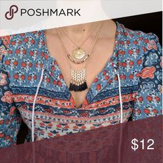 Boho style set of 3 festival layering necklaces Brand new! Includes 2- 16 inch necklaces and 1-18 inch necklaces. Jewelry Necklaces