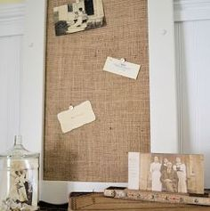 Finished burlap covered cork board!  This is what I need for my $2.00 vintage frame!