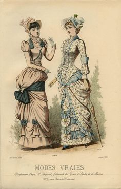 I like the Napoleonic feel to the pink dress - the little bolero and the puffed sleeve caps with the tight-buttoned lower sleeve. Mode Vraies, 1882