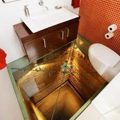 Do You Dare? Bathroom with Transparent Glass Floor.