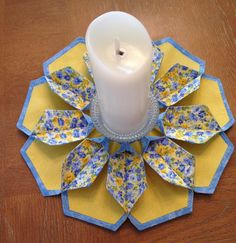 The Blossom Table Topper Candle Mat Blue Floral by Sewandplay Bedroom Dressers, Table Toppers, Yellow, Blue, Mothers, Candle Holders, Alternative, Floral Prints, Polka Dots