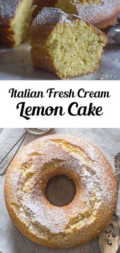 Italian Fresh Cream Lemon Cake, made with fresh Cream. The Perfect Breakfast or Snack Cake. A fast, easy and Delicious Lemon Cake recipe. This easy cake recipe is perfect anytime of the year, especially Spring! Try it this Mother's Day for brunch or dessert! #lemoncake #dessert Homemade Cake Recipes, Cupcake Recipes, Cupcake Cakes, Bundt Cakes, Cupcakes, Homemade Breakfast, How To Make Breakfast, Perfect Breakfast, Blueberry Desserts
