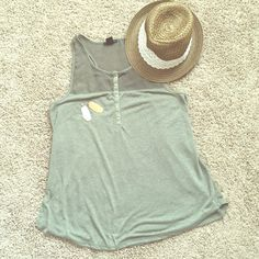 Olive green loose tank Perfect for ladies who don't like a hip/tummy hugging shirts. H&M Tops Tank Tops