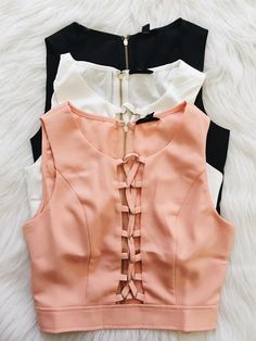 This sleeveless crop top features a laceup detail on center front, a round neckline and a fitted silhouette. Saree Blouse Designs, Blouse Styles, Teen Fashion, Fashion Outfits, Fashion Trends, Summer Outfits, Cute Outfits, Sleeveless Crop Top, Indian Wear
