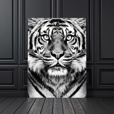 Grand Chat, Black And White Wall Art, Black White, Tiger Painting, Nordic Art, Canvas Wall Art, Canvas Paintings, Modern Wall Art, Portrait