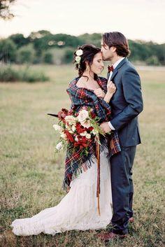 Plaid Pendleton Inspiration Bride With Blanket Wedding