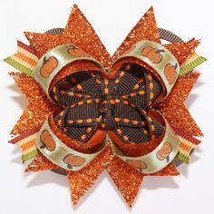 "Mini 2.5"" Autumn Pumpkins Glitter Stacked Hair Bow"