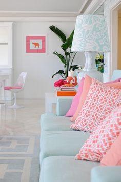 Pink & Teal mid-century modern living room
