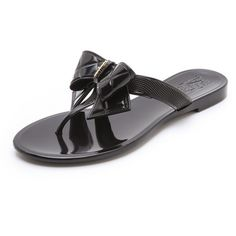 Salvatore Ferragamo Bali Jelly Thong Sandals with Quilted Bow