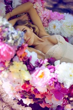 colorful, flowers, joy, beauty, elegance, woman, eva bushmina, g., Ukranian