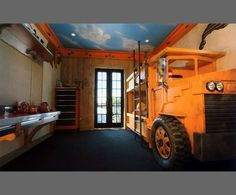 Tractor trailer bunk bed nursery kids bedroom for Construction themed bedroom ideas