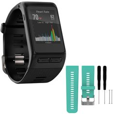 Garmin vivoactive HR GPS Smartwatch - Regular Fit - Black (010-01605-03) with General Brand Silicone Band Strap + Tools for Garmin Vivoactive HR Sport Watch (Teal) -- Awesome products selected by Anna Churchill