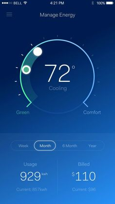 Gorgeous UI design of a thermostat/energy use app