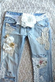 A SALE embellished jeans, Boho lace jeans, CUSTOM Jeans Shabby lace country…