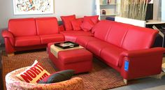 Paradise Sectional in Chili Red