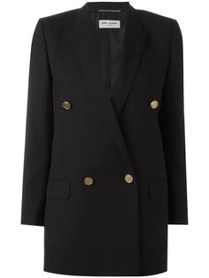 Shop Saint Laurent long double breasted tube jacket.