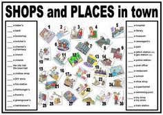 Frenchfrog's Little English Pond: Shops and Places in Town (Matching) Spanish Teacher, Spanish Classroom, Classroom Resources, English For Beginners Worksheets, English Lessons, Learn English, Places In The Community, Communities Unit, Page Borders Design