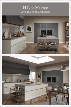 Create the modern inframe look with a handleless kitchen design. Create an industrial kitchen look by mixing shades of grey in the kitchen and add a large kitchen island with a stone effect finish kitchen worktop