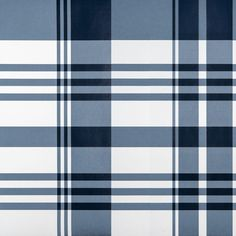 Biarritz Wallpaper A wallpaper with a light monochromatic version of tartan in prussian blue and white