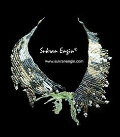 Metal and beadwork collar with gray pearls by SukranEngin on Etsy, $225.00