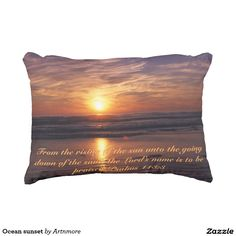 Ocean sunset decorative pillow