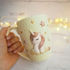 """Mug """" Unicorn"""" – shop online on Livemaster with shipping - Polymer Clay Christmas, Cute Polymer Clay, Cute Clay, Polymer Clay Dolls, Polymer Clay Charms, Polymer Clay Creations, Handmade Polymer Clay, Polymer Clay Jewelry, Clay Art Projects"""