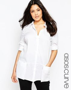 ASOS Curve | ASOS CURVE Longline Shirt With Oversized Pockets at ASOS