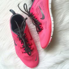 New NIKE Free Pink Shoes! Brand new! Perfect condition! The only reason I'm selling them is because I have way too many Nike's that are all very similar. Purchased from Nike store. Perfect pop of pink! Size 9. No trades. Any questions, please ask! Nike Shoes Athletic Shoes
