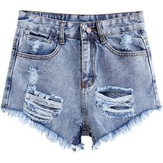 SheIn(sheinside) Blue High Waist Ripped Denim Shorts (19 CAD) ❤ liked on Polyvore featuring shorts, bottoms, pants, short, blue, blue jean shorts, short shorts, short jean shorts, distressed denim shorts and ripped high waisted shorts