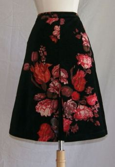 New Oilily skirt sz 34 velvet black floral red womens $245 in Clothing, Shoes & Accessories | eBay