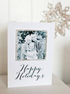Forget storebought holiday greetings. Show friends and family that you really care with a handmade card featuring a favorite photo within a glitzy glittered frame — our free printable template makes it a snap.