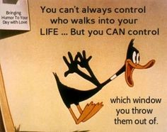 You cant always control who walk into your life quotes quote lol funny quote funny quotes looney toons daffy duck humor Great Quotes, Me Quotes, Inspirational Quotes, Qoutes, Duck Quotes, Quotable Quotes, Upset Quotes, Motivational, Profound Quotes