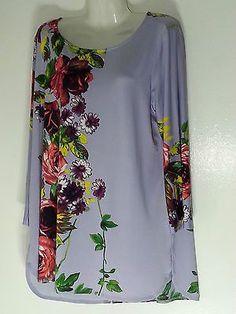 Attitudes Renee Floral Print Top Blouse XL Extra Large Lavender QVC