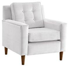 Winston Velvet Armchair, White