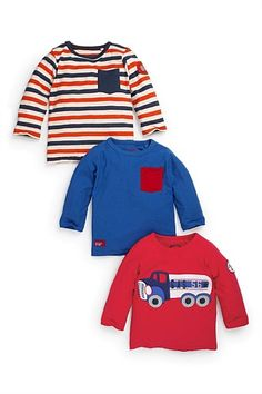 Kid's Clothing - Kidswear and Clothes for Children - Next Long Sleeve Gas Tanker T-Shirts Three Pack (3mths-6yrs)