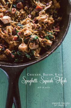 Chicken, Bacon, Kale Spaghetti Squash Hash