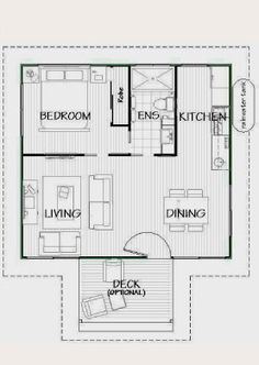 Floor plan for granny flat 6m x 6m google search for Granny cottage plans