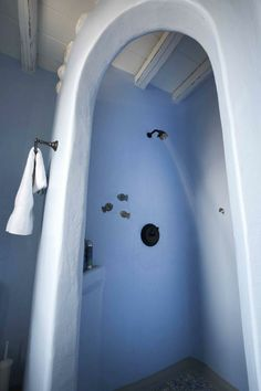 mediterranean bathroom by Mykonos Panormos Villas Mediterranean Bathroom, Adobe House, Bathroom Pictures, Santorini Greece, Barbie House, Bathroom Wall, Houzz, Home Living Room, My Room